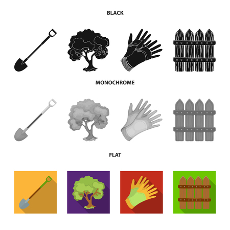 A shovel with a handle, a tree in the garden, gloves for working on a farm, a wooden fence. Farm and gardening set collection icons in black, flat, monochrome style vector symbol stock illustration web.