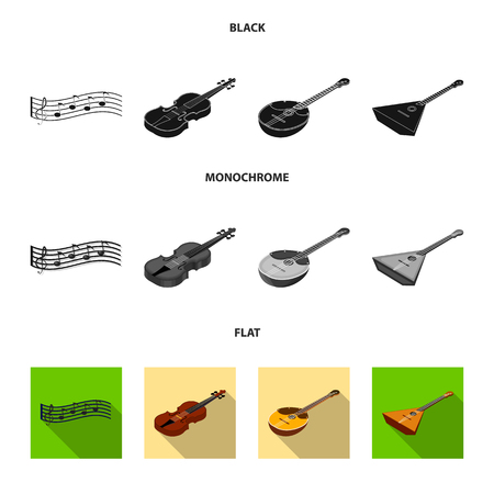 Musical instrument black, flat, monochrome icons in set collection for design. String and Wind instrument isometric vector symbol stock  illustration.