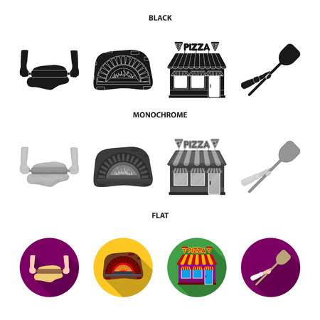 Pizza dough, oven, pizzeria building, spatula for billets. Pizza and pizzeria set collection icons in black, flat, monochrome style vector symbol stock illustration Ilustração