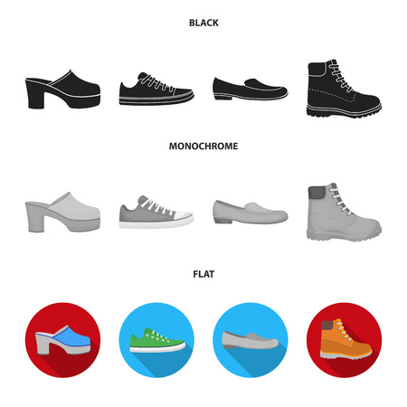 Flip-flops, clogs on a high platform and heel, green sneakers with laces, female gray ballet flats, red shoes on the tractor sole. Shoes set collection icons in black, flat, monochrome style vector symbol stock illustration web. Vettoriali
