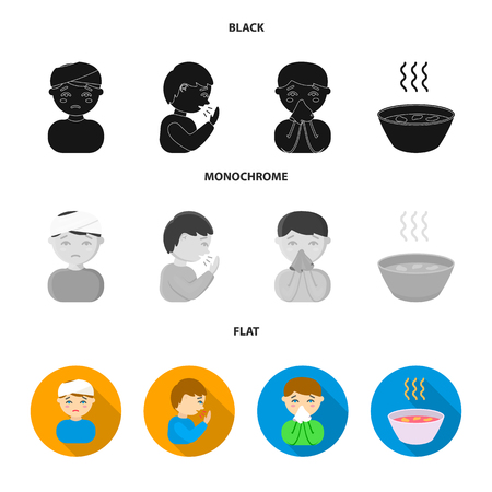 A man with a bandaged head, a man coughing, a man snorts a snot, a bowl, a bowl of hot broth into a handkerchief. Sick set collection icons in black, flat, monochrome style vector symbol stock illustration .