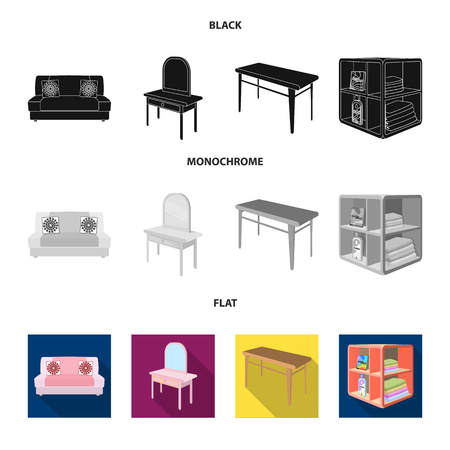 Soft sofa, toilet make-up table, dining table, shelving for laundry and detergent. Furniture and interior set collection icons in black, flat, monochrome style isometric vector symbol stock illustration web.