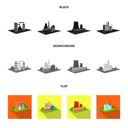 Processing factory,metallurgical plant. Factory and industry set collection icons in black, flat, monochrome style isometric vector symbol stock illustration . Stock Illustratie