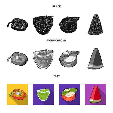 Sweet Bulgarian pepper, vitamin drink, jam with raspberry and mint leaves, a piece of watermelon. Vegetarian dishes set collection icons in black, flat, monochrome style vector symbol stock illustration .