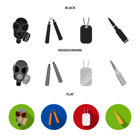 Gas mask, nunchak, ammunition and soldier token icons in black, flat and monochrome style Ilustrace