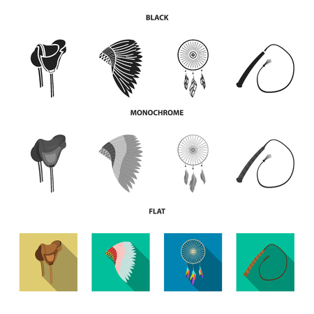 Saddle, Indian mohawk, whip, dream catcher.Wild west set collection icons in black, flat, monochrome style vector symbol stock illustration . Ilustrace