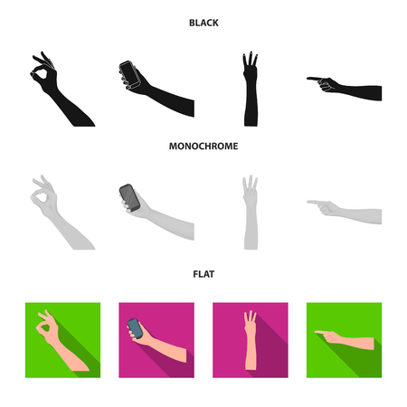 Sign Language black, flat, monochrome icons in set collection for design.Emotional part of communication vector symbol stock  illustration.