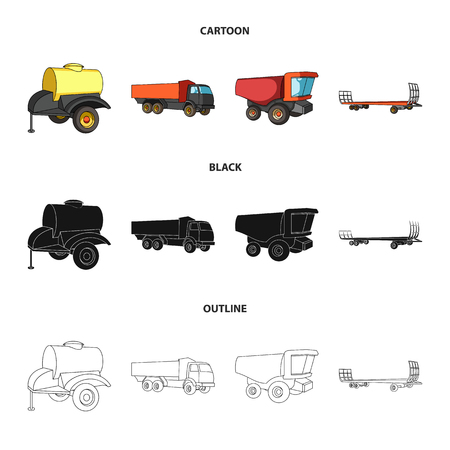 Trailer with a barrel, truck and other agricultural devices. Agricultural machinery set collection icons in cartoon,black,outline style vector symbol stock illustration . Illustration
