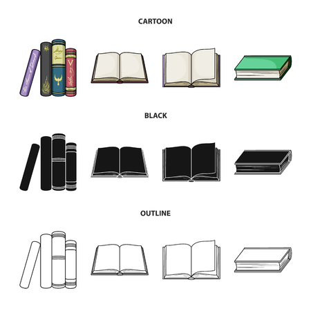 Collection of books in cartoon, black and outline style