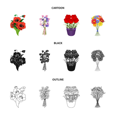 A bouquet of fresh flowers cartoon,black,outline icons in set collection for design. Various bouquets vector symbol stock  illustration.