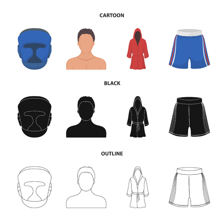 Boxing icons of a mask, helmet, and clothes in a set collection of cartoon, black and outline style