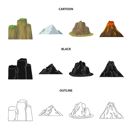 Collections of landscapes of cliffs, a volcanic eruption, a mountain and a glacier in cartoon, black and outline