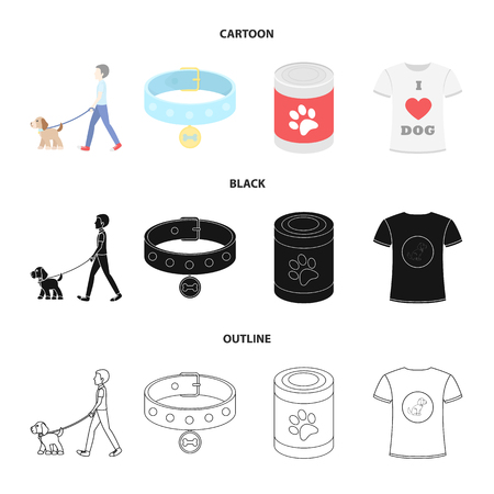 A man walks with a dog, a collar with a medal, food, a T-shirt I love dog.Dog set collection icons in cartoon,black,outline style vector symbol stock illustration .