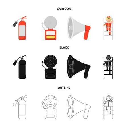 Fire extinguisher, alarm, megaphone, fireman on the stairs. Fire departmentset set collection icons in cartoon,black,outline style vector symbol stock illustration .