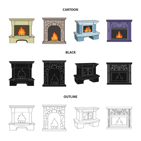 Fire, warmth and comfort.Fireplace set collection icons in cartoon,black,outline style vector symbol stock illustration .