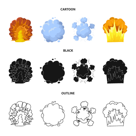 Flame, sparks, hydrogen fragments, atomic or gas explosion. Explosions set collection icons