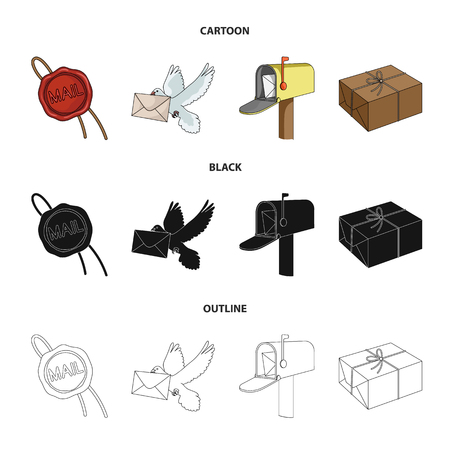 Wax seal, postal pigeon with envelope, mail box and parcel icons in cartoon, black, and outline style Stock Illustratie