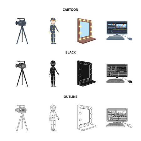 A movie camera, a suit for special effects and other equipment. Making movies set collection icons