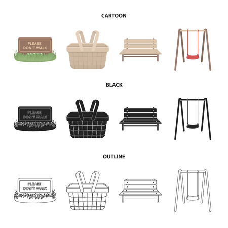Lawn with a sign, a basket with food, a bench, a swing. Park set collection icons in cartoon,black,outline style vector symbol stock illustration web.