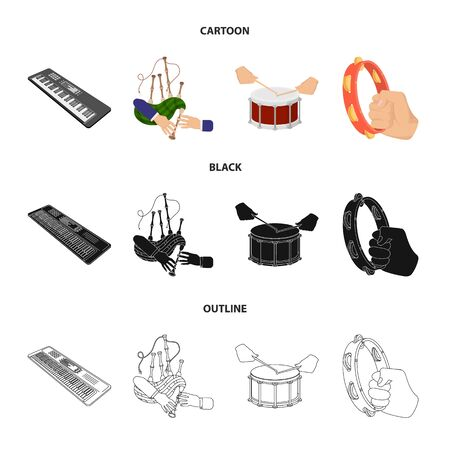 Synthesizer, bagpipes, drums and tambourine icons in cartoon, black and outline style.