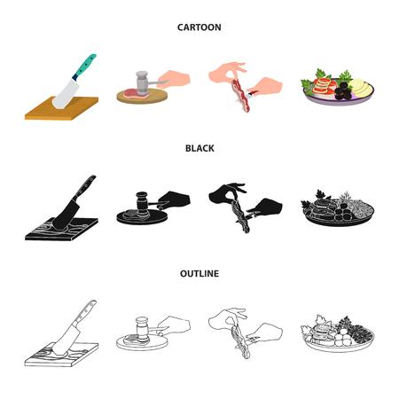 Coutelas sur une planche à découper, marteau pour les côtelettes, cuisson du bacon, manger du poisson et des légumes. Manger et cuisiner définir des icônes de collection en dessin animé, noir, contour style vecteur symbole stock illustration web.