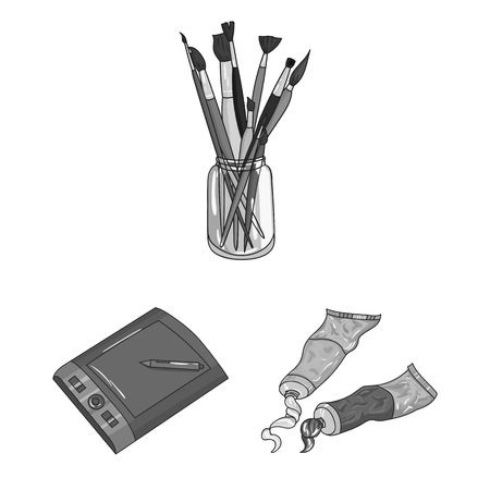 Painter and drawing monochrome icons in set collection for design. Artistic accessories vector symbol stock web illustration. Illustration