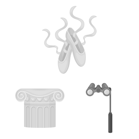 Theatrical art monochrome icons in set collection for design. Theater equipment and accessories vector symbol stock web illustration. 일러스트
