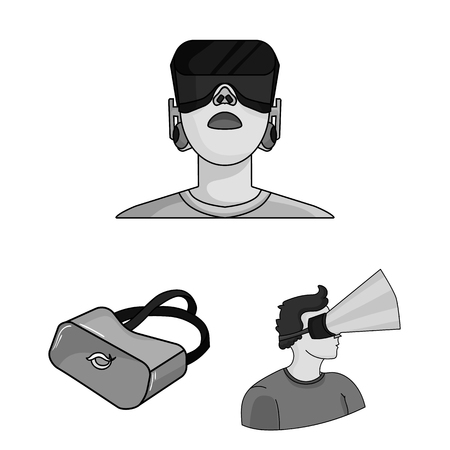 A virtual reality cartoon icons in set collection for design. Modern technology and equipment vector symbol stock web illustration.