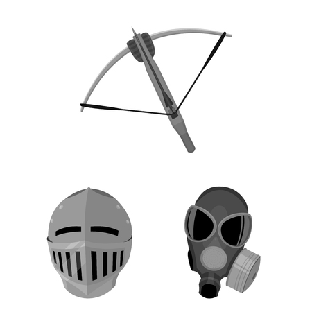 Types of weapons monochrome icons in set collection for design.bow, arrow, mask and bladed weapons vector symbol stock web illustration.