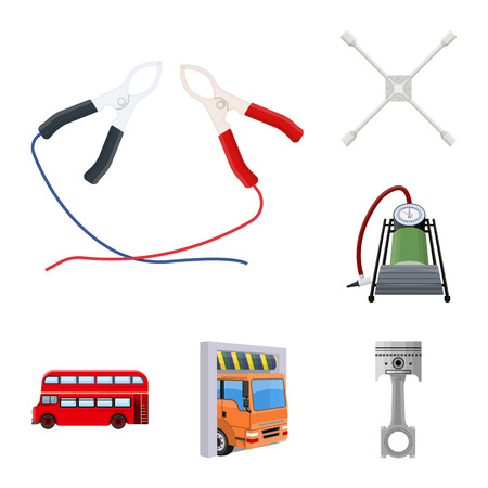 Car, lift, pump and other equipment cartoon icons in set collection for design. Car maintenance station vector symbol stock illustration web. Illustration