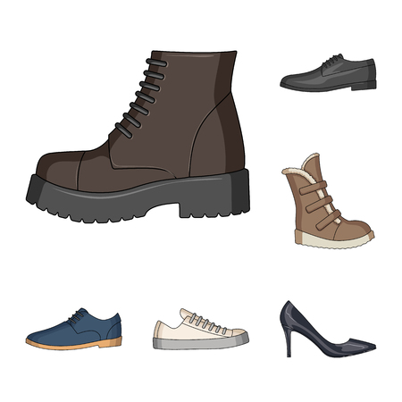 Different shoes cartoon icons in set collection for design. Men and women shoes vector symbol stock web illustration.