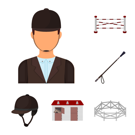 Hippodrome and horse cartoon icons in set collection for design. Horse Racing and Equipment vector symbol stock web illustration. 일러스트
