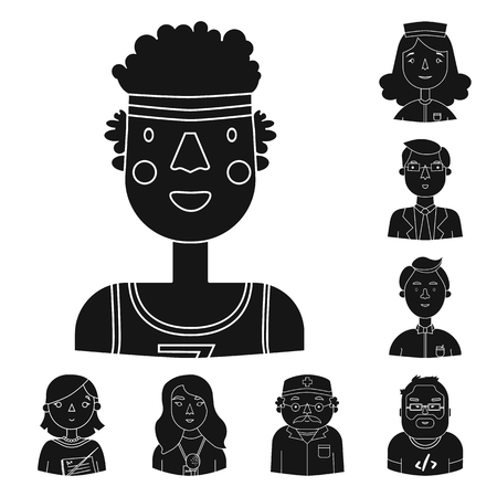 People of different professions black icons in set collection for design. Worker and specialist vector symbol stock web illustration. Иллюстрация