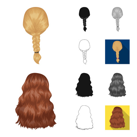 Female hairstyle cartoon, black, flat, monochrome, outline icons in set collection for design. Stylish haircut vector symbol stock web illustration. Ilustração