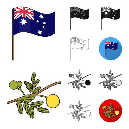 Country Australia cartoon, black, flat, monochrome, outline icons in set collection for design. Travel and attractions vector symbol stock web illustration.
