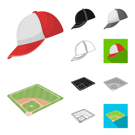 Baseball icons such as cap and baseball field. Baseball player and equipment vector symbol stock web illustration. 일러스트
