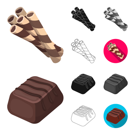 Chocolate Dessert cartoon, black, flat, monochrome, outline icons in set collection for design. Chocolate and Sweets vector symbol stock web illustration. Ilustração