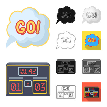 Fan and attributes cartoon, black, flat, monochrome, outline icons in set collection for design. Sports Fan vector symbol stock web illustration.