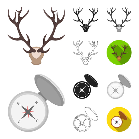 Hunting and trophy cartoon with compass and deer.  Hunting and equipment vector symbol stock web illustration. Vettoriali