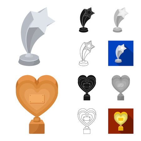 Film awards and prizes cartoon, black, flat, monochrome, outline icons in set collection for design. The World Film Academy vector symbol stock web illustration.