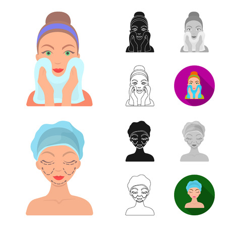 Skin care cartoon - Face care vector symbol stock web illustration. Illustration