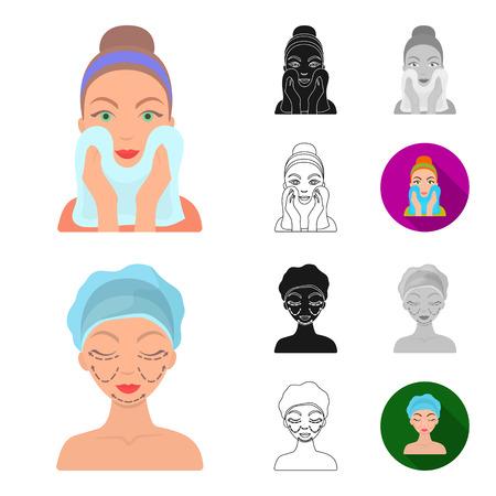 Skin care cartoon - Face care vector symbol stock web illustration. Ilustracja