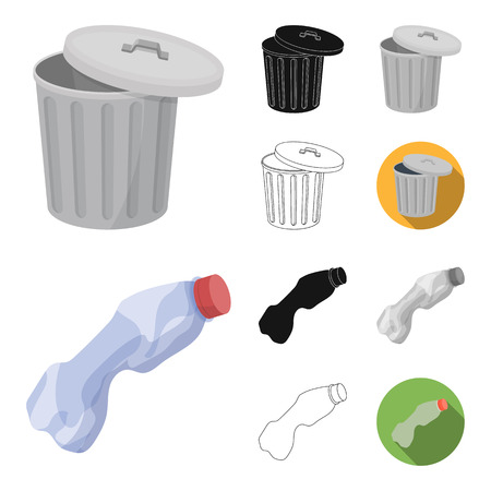 Garbage and waste cartoon, black, flat, monochrome, outline icons in set collection for design. Cleaning garbage vector symbol stock web illustration. 일러스트