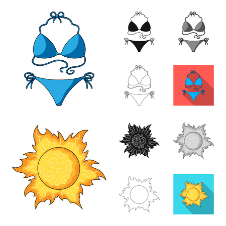Summer rest cartoon, black, flat, monochrome, outline icons in set collection for design. Beach accessory vector symbol stock web illustration.  イラスト・ベクター素材