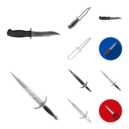 Types of weapons cartoon, black, flat, monochrome, outline icons in set collection for design. Firearms and bladed weapons vector symbol stock web illustration.