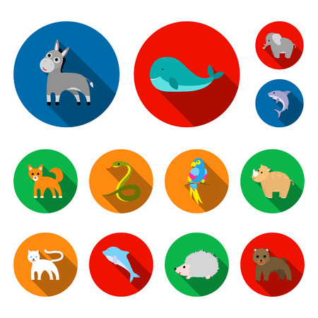 Animal flat icons in set collection for design. Toy animals vector symbol stock web illustration.