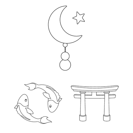 Religion and belief outline icons in set collection for design. Accessories, prayer vector symbol stock web illustration.