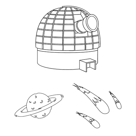 Space technology outline icons in set collection for design.Spacecraft and equipment vector symbol stock web illustration.