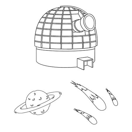 Icônes de contour de la technologie spatiale dans la collection de jeu pour la conception.Vaisseau spatial et équipement vecteur symbole stock illustration web.