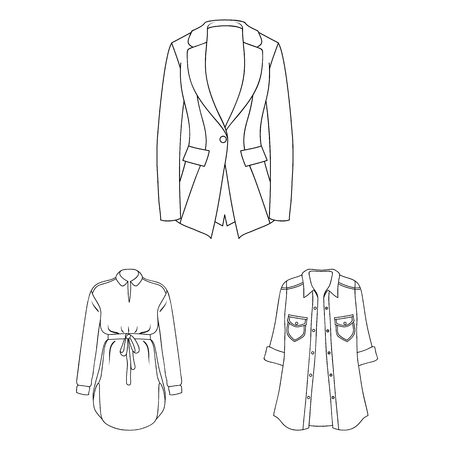 Women Clothing outline icons in set collection for design.Clothing Varieties and Accessories vector symbol stock web illustration.
